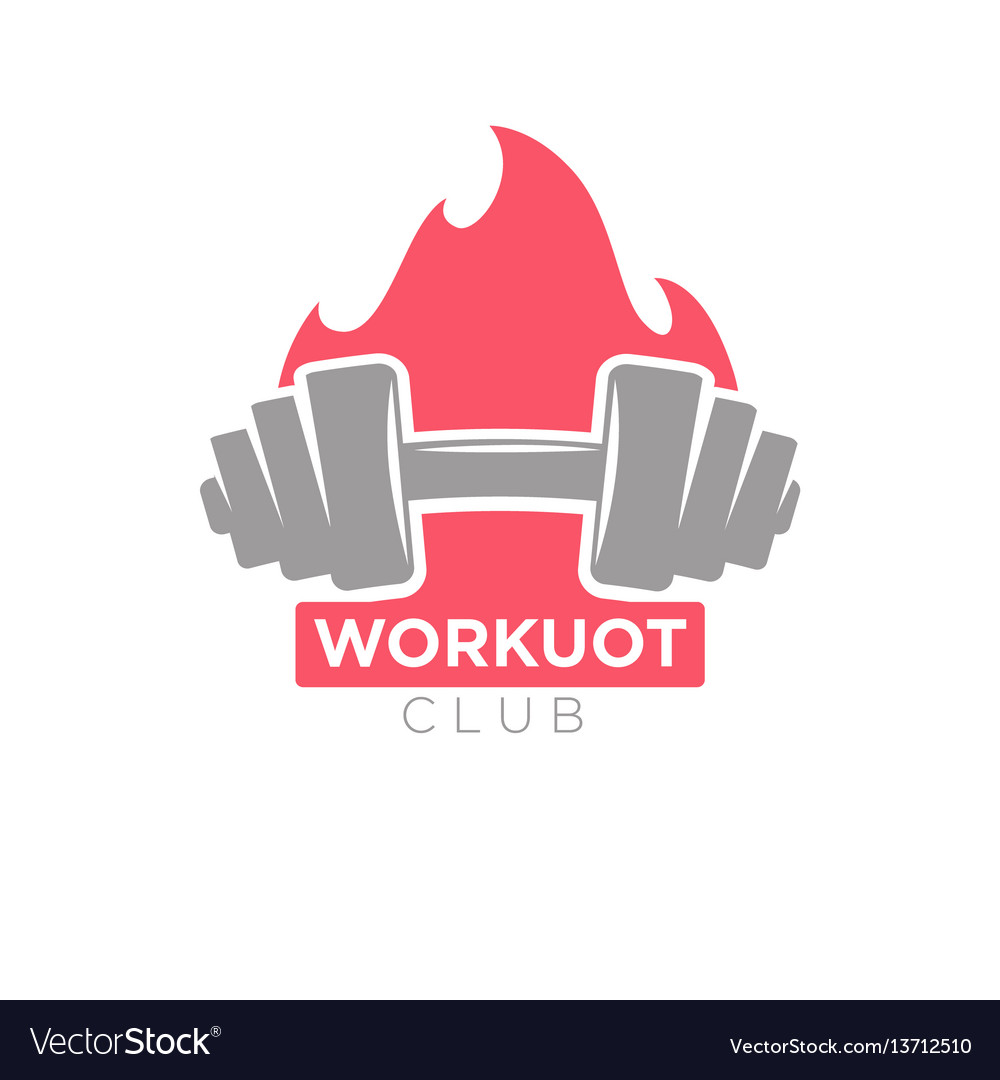 Workout club promotion banner dumbbell on