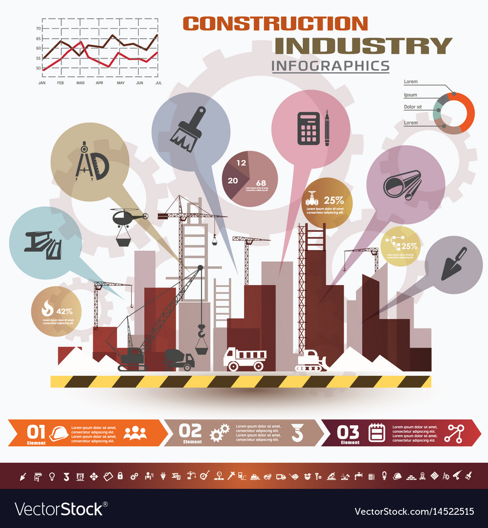 Building and construction infographics icons