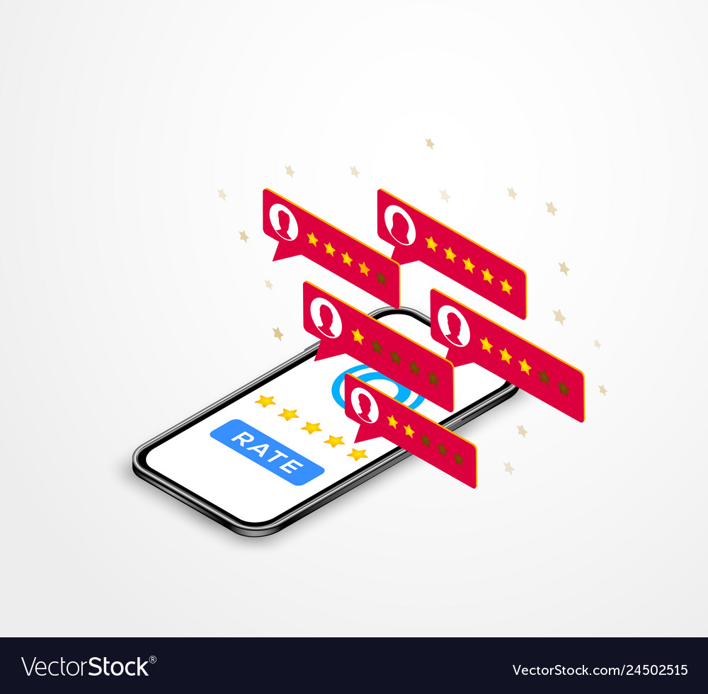 Customer reviews isometric concept online review