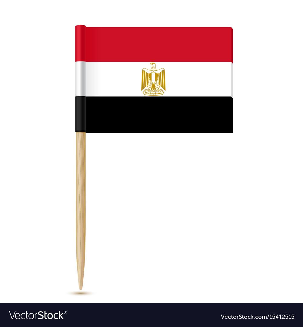 Flag of egypt flag toothpick on white background