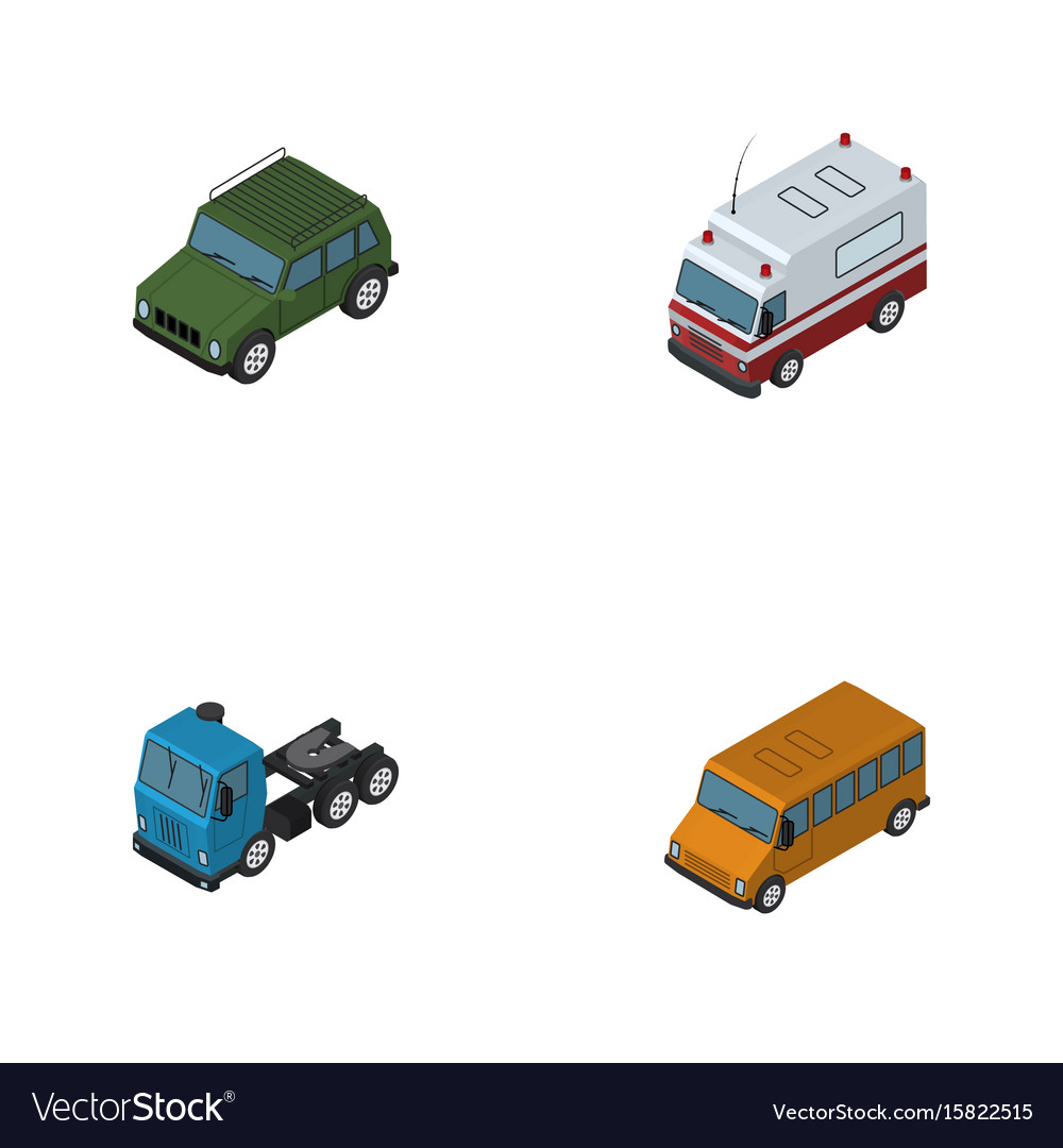 Isometric car set of armored truck autobus and
