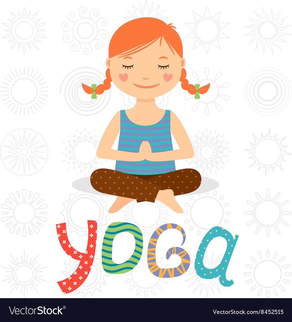 Little girl doing yoga vector image