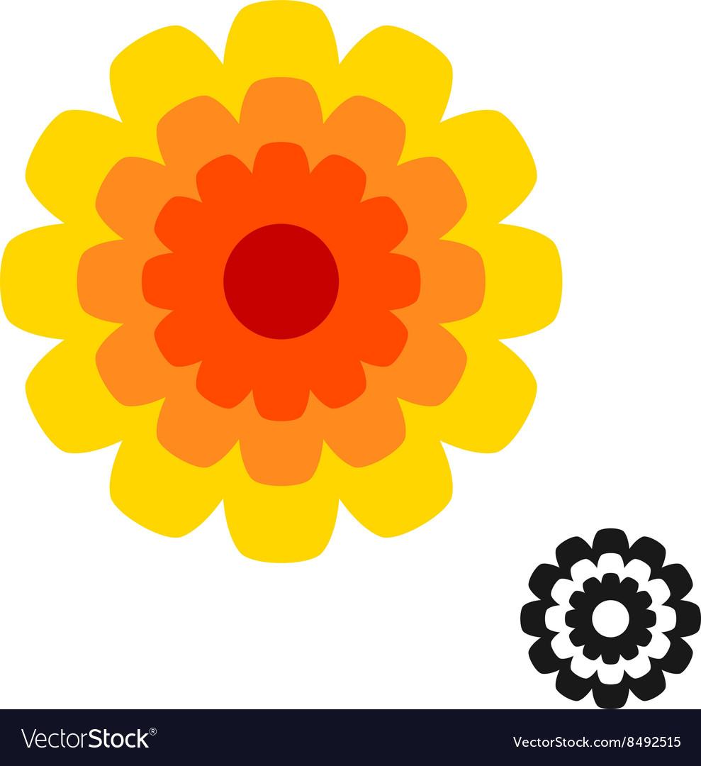 Marigold Calendula Flower Top View Logo Black Vector Image On Vectorstock