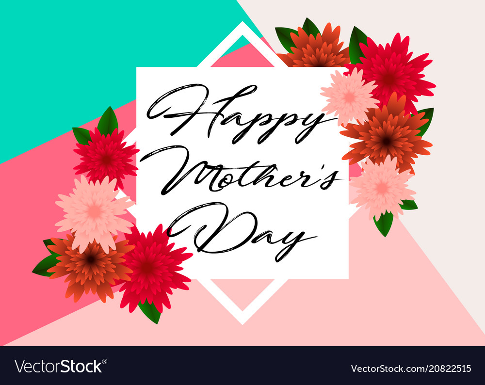 Mothers day greeting card with beautiful flowers