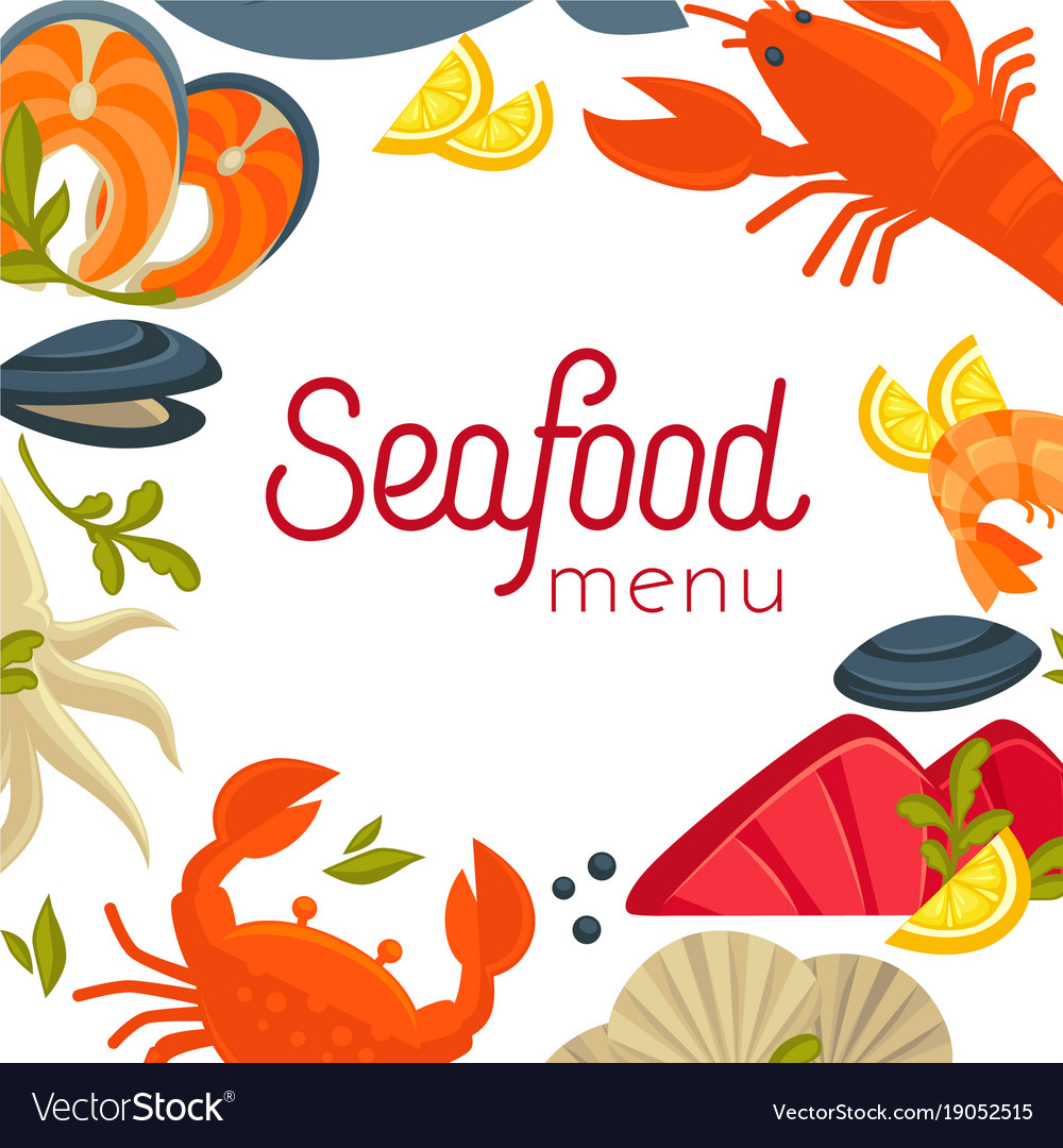 Seafood menu cover with exotic food as frame