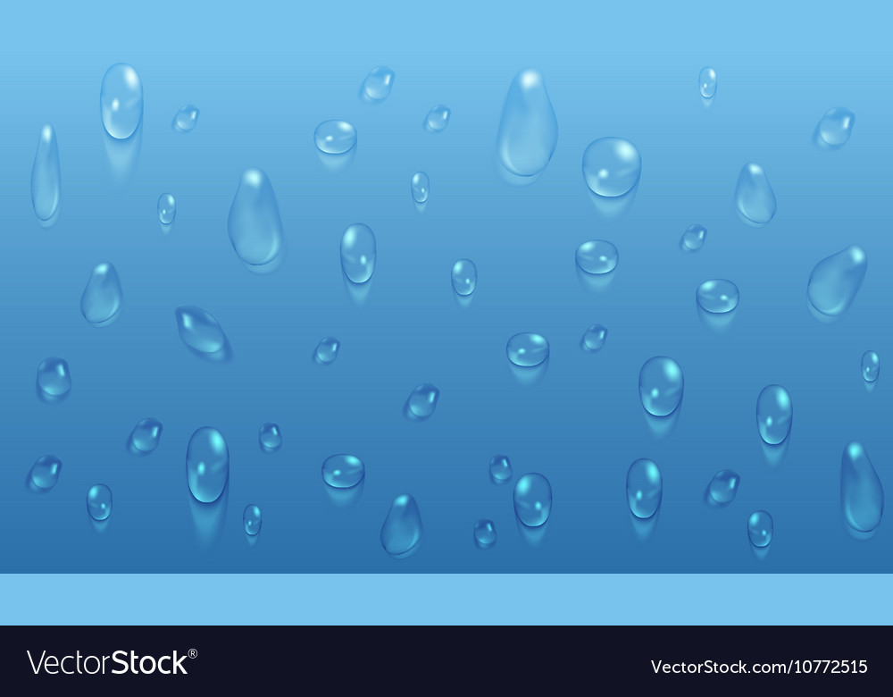 Transparent water drops blue background