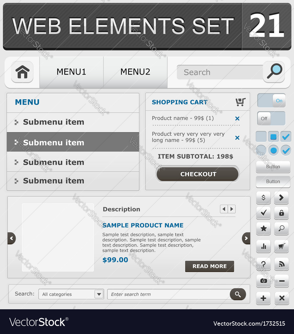 Web elements set 21