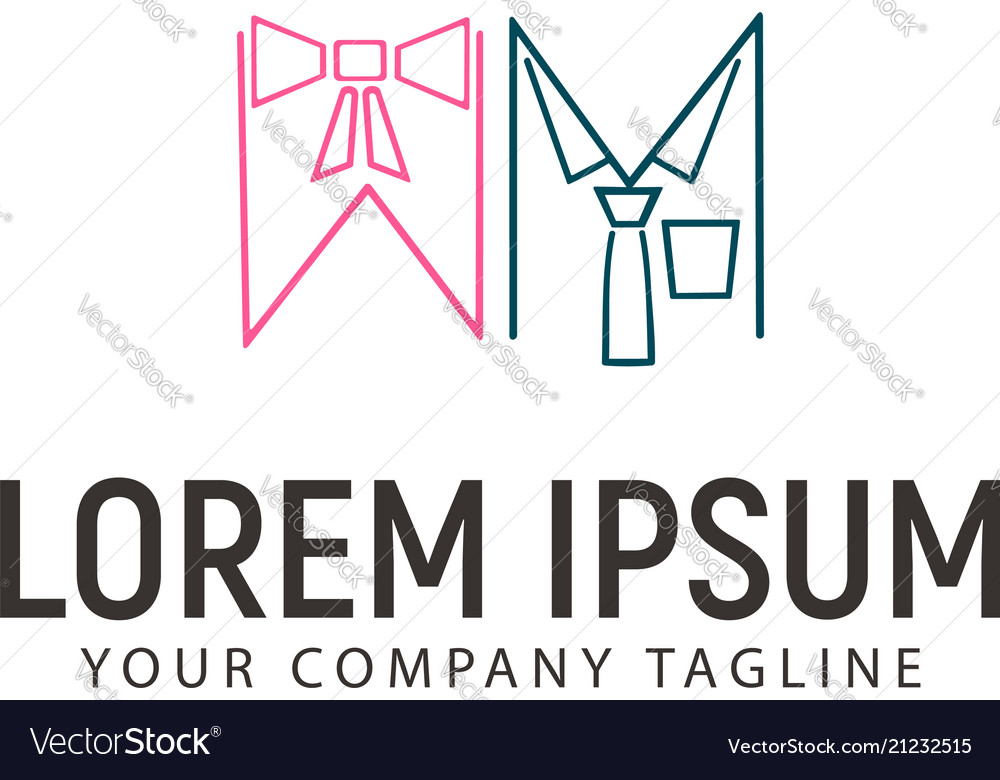 Woman and man clothes logo design concept template