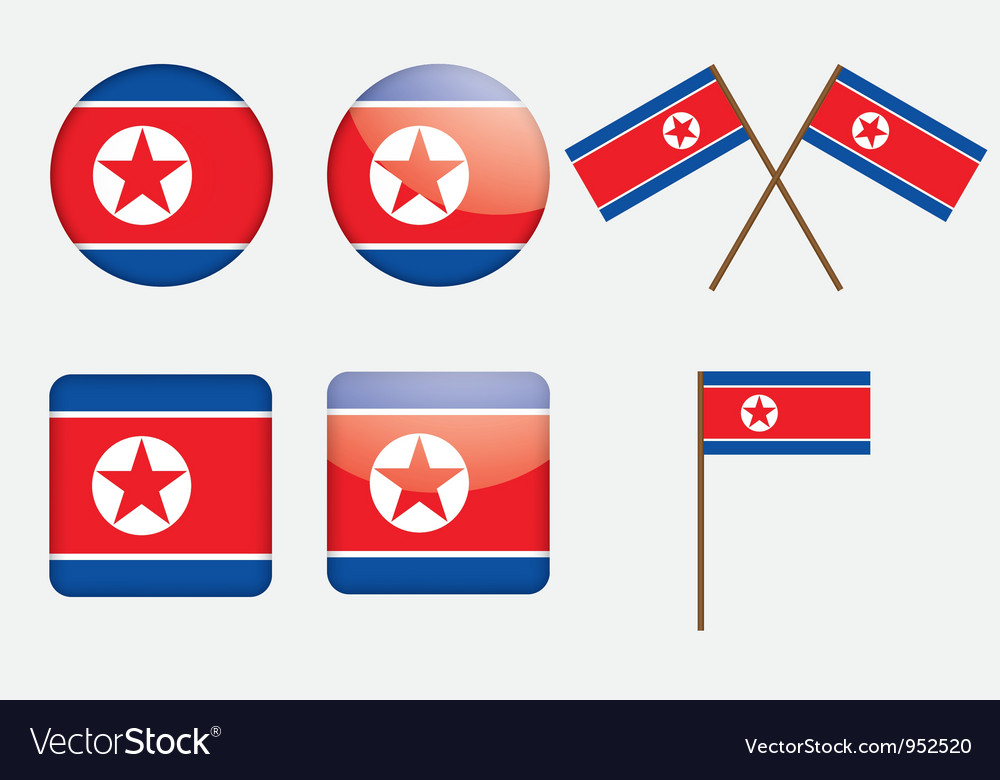 Badges with flag of North Korea