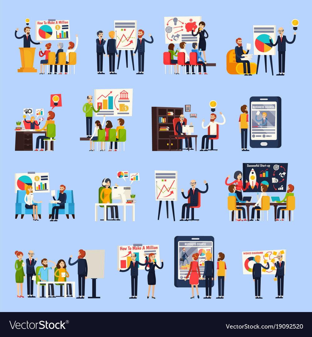 Business coaching orthogonal people vector image