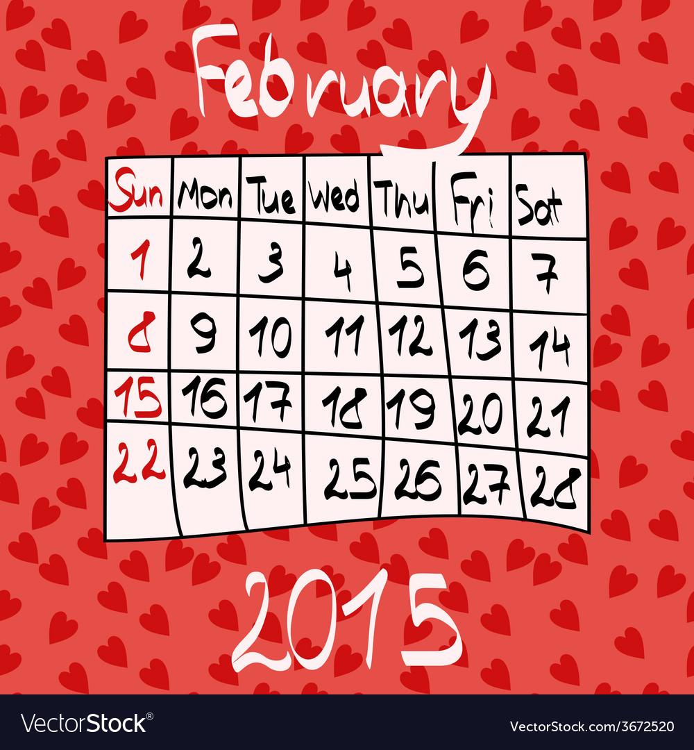 Calendar for February 2015 Cartoon Style Hearts