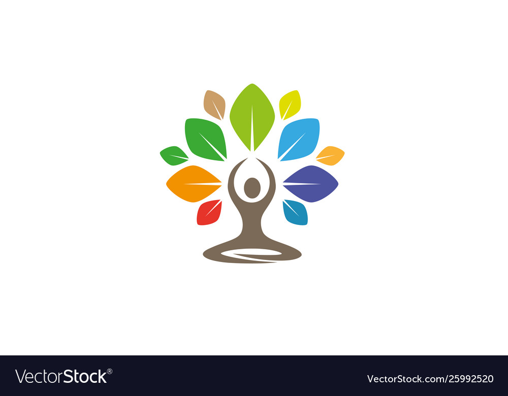 Creative Yoga Tree Lotus Logo Design Symbol Vector Image