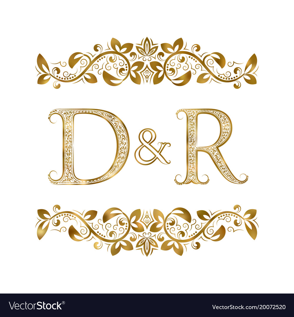 D And R Vintage Initials Logo Symbol The Letters Vector Image