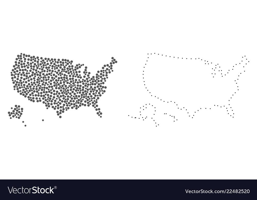Dot contour map of usa territories