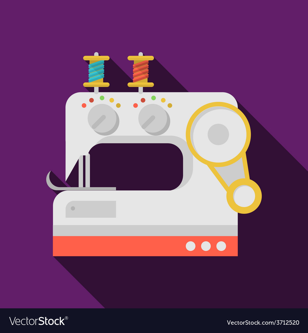 Flat icon for sewing machine vector image