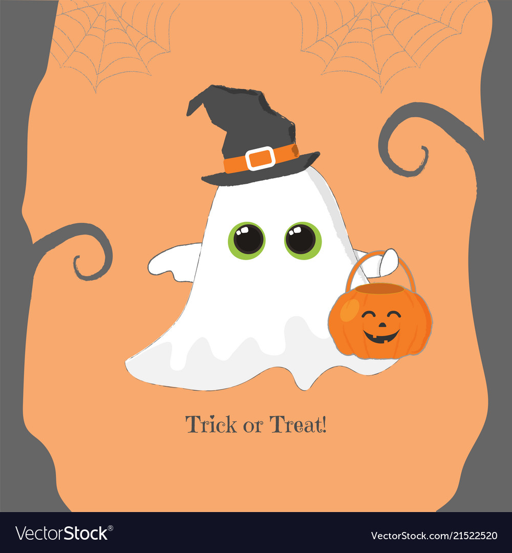 Halloween banner cute fllying ghost with pumpkin
