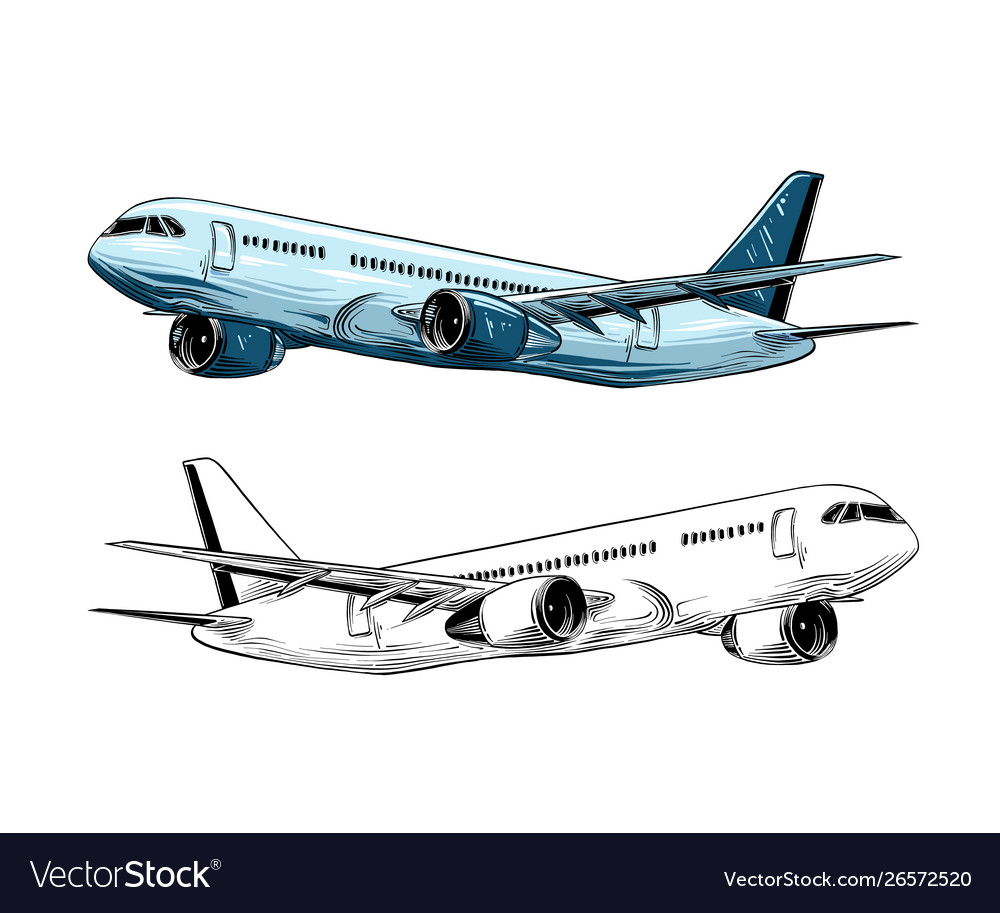 Hand drawn sketch aircraft in blue color