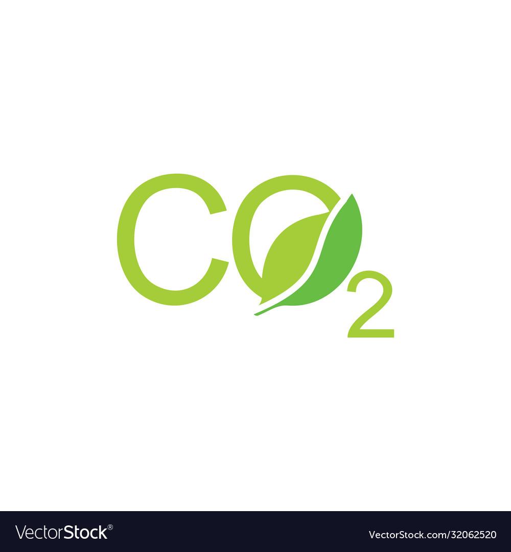 Letters Co2 Leaf Shape Symbol Logo Royalty Free Vector Image