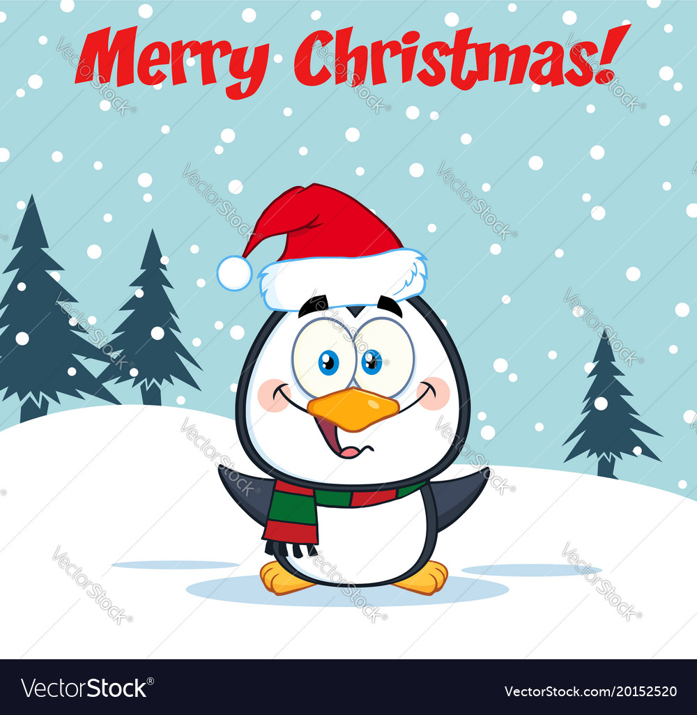 Merry christmas greeting with cute penguin vector image