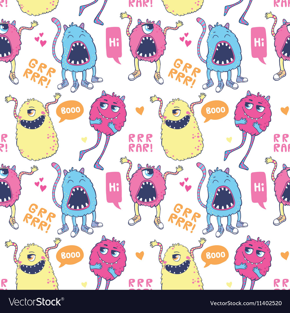 Monsters seamless pattern