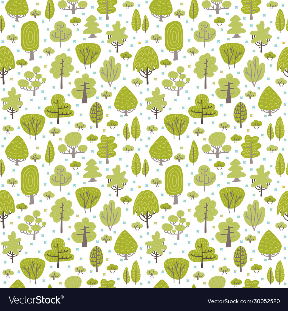Seamless green pattern with different trees hand