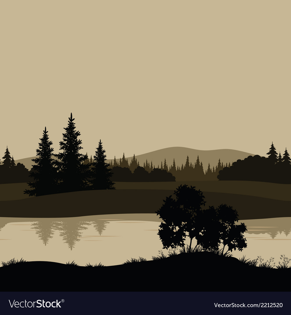 Seamless landscape trees river and mountains vector image