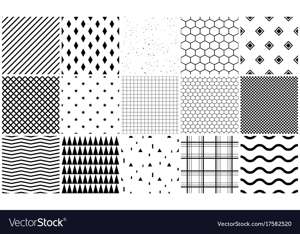 Seamless pattern set of geometric textures