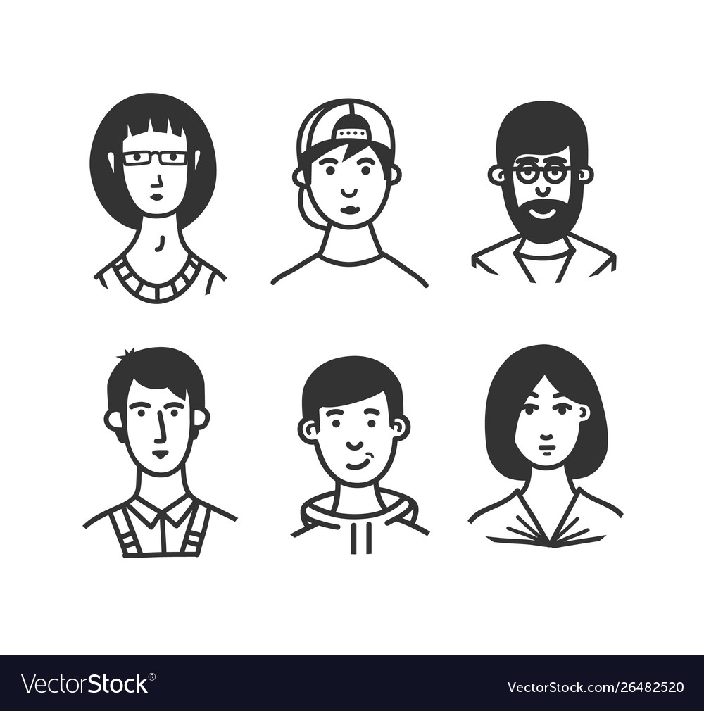 Set cartoon characters or avatars
