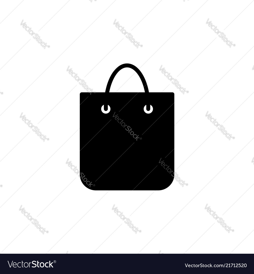 Shopping Bag Icon Black On White Royalty Free Vector Image