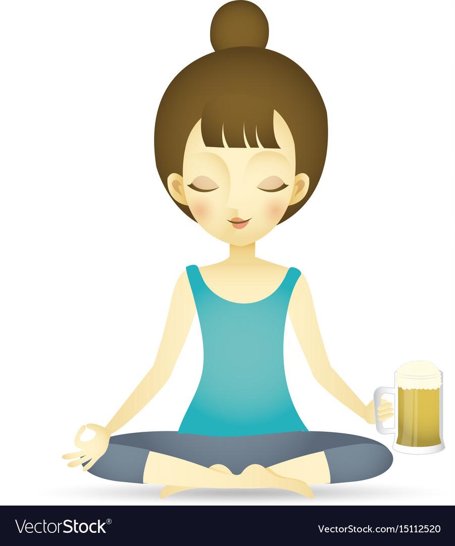 Woman doing yoga beer vector image
