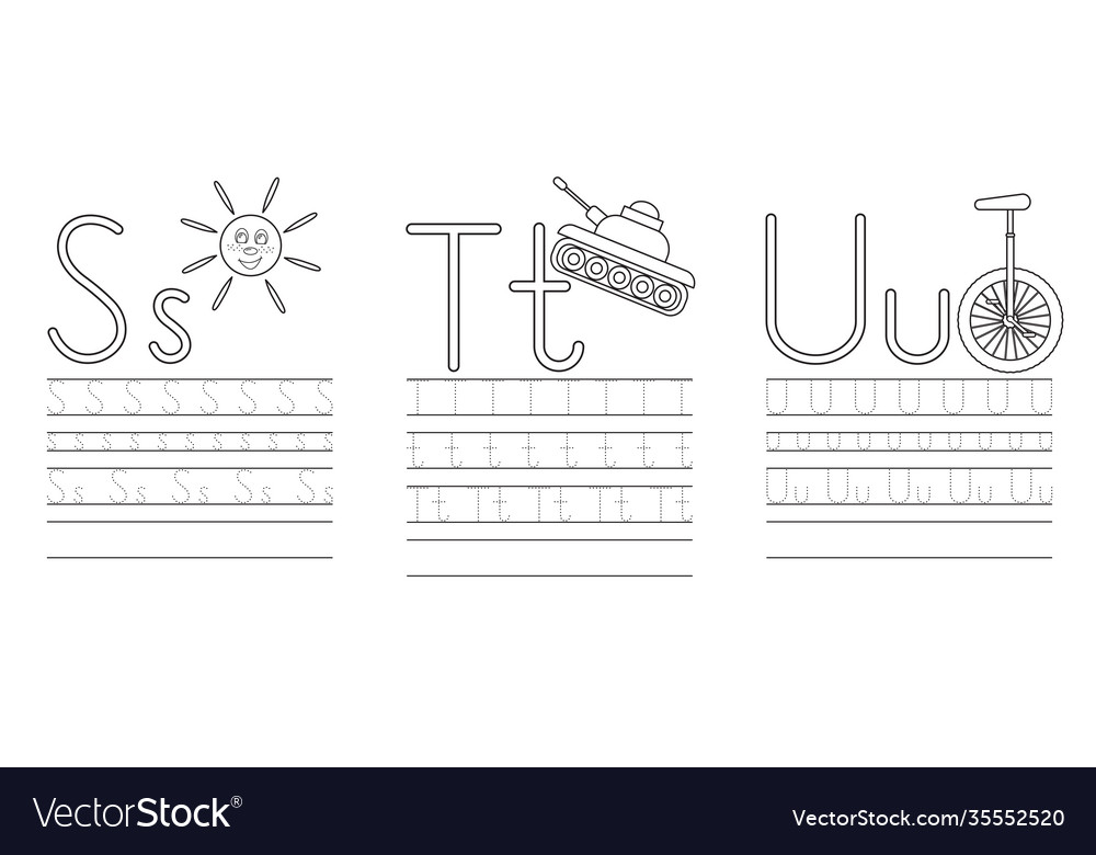 Writing practice letters s t u coloring book