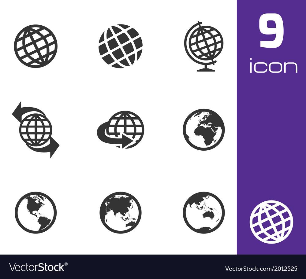 Black globe icons set
