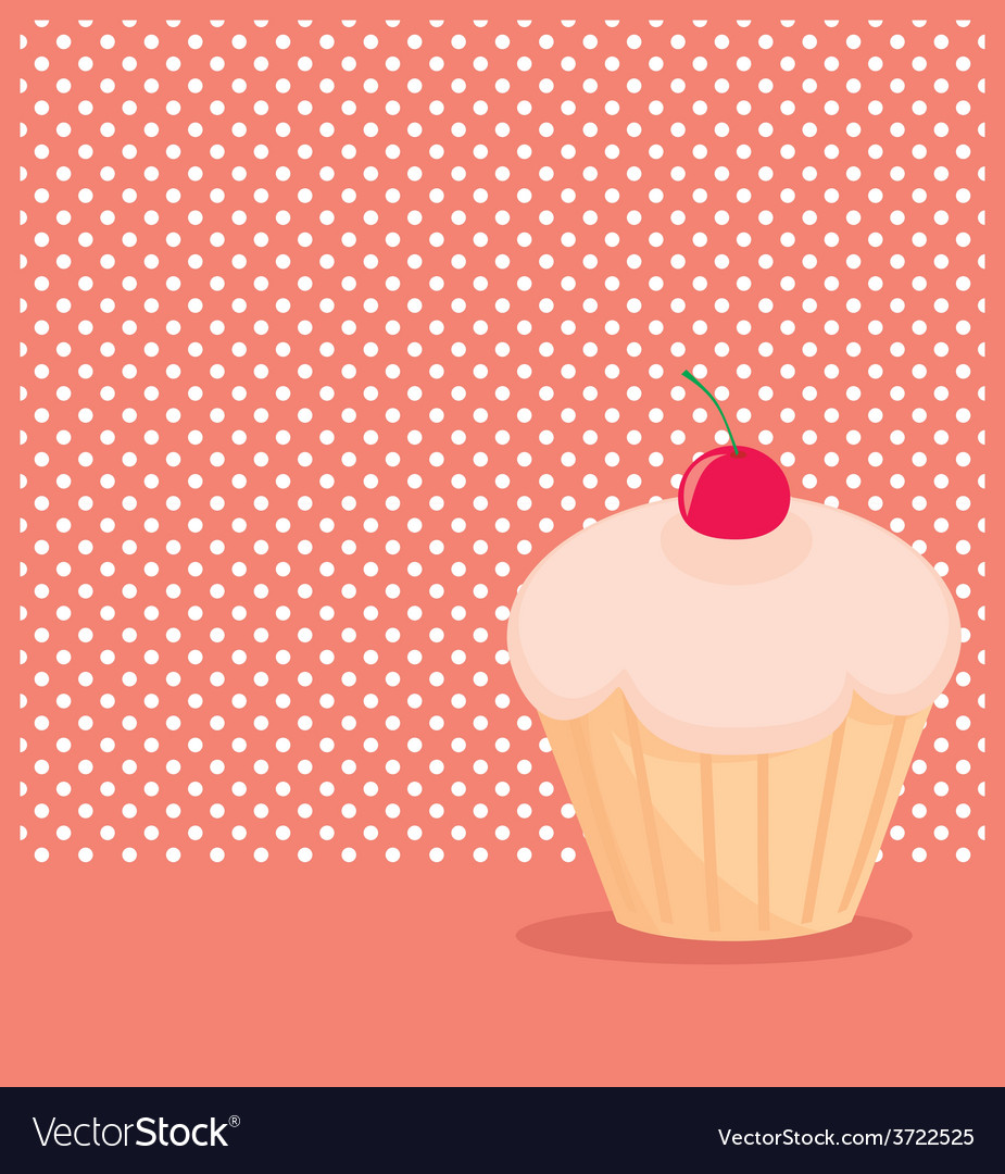 Cherry cupcake on white polka dots pink background