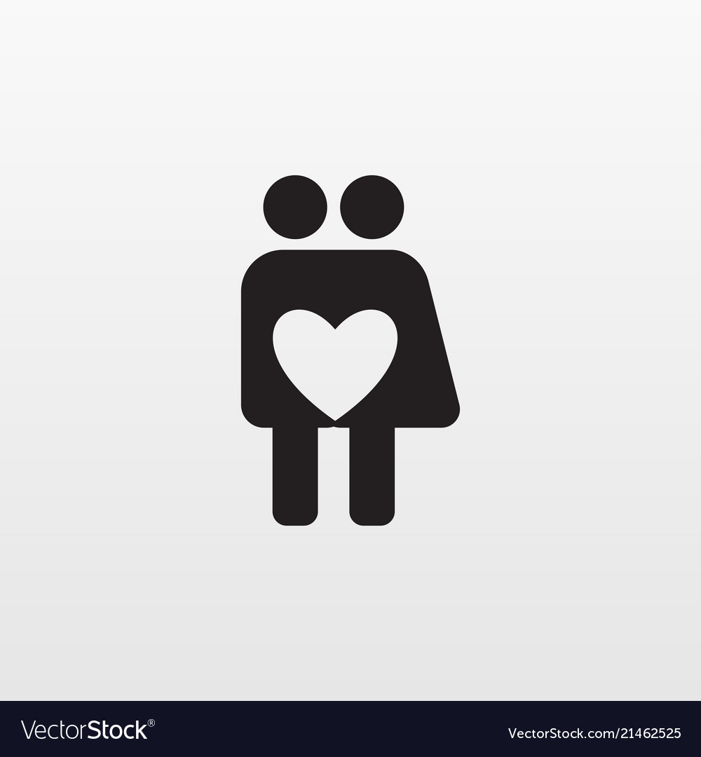 Gray love icon isolated on background modern flat