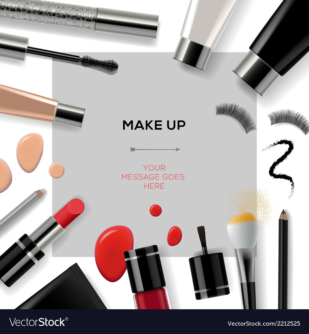 Makeup template with collection of make up
