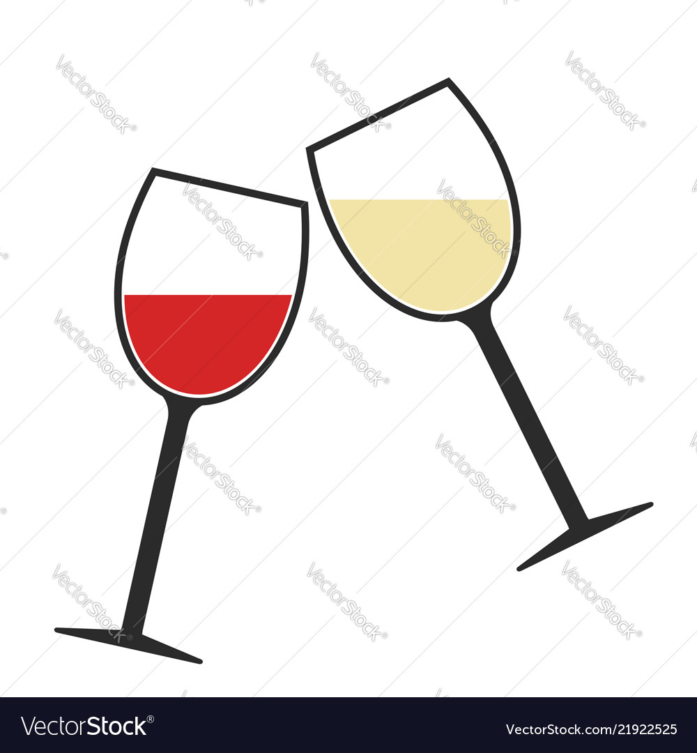 Red and white wine glasses clink icon isolated