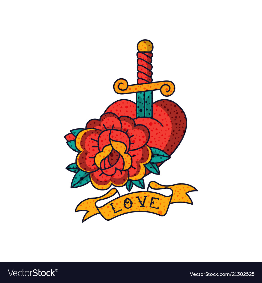 Rose flower heart dagger ribbon and word love