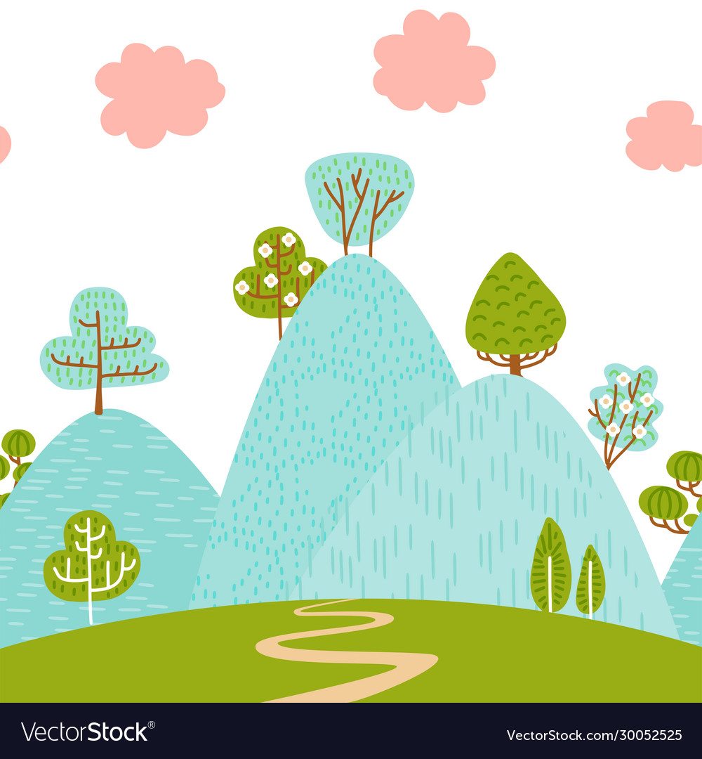 Seamless border pattern with mountain hilly