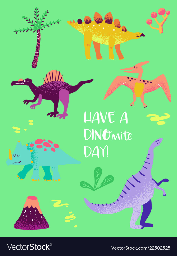 Set of funny dinosaurus for poster print baby