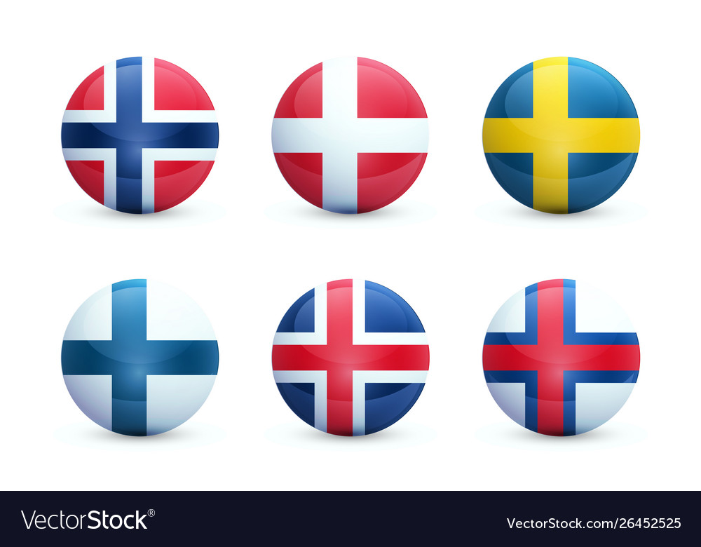 Set round shiny spheres with national flags of