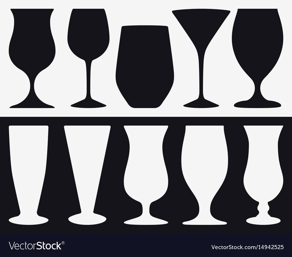 Set silhouettes of different types of glasses vector image