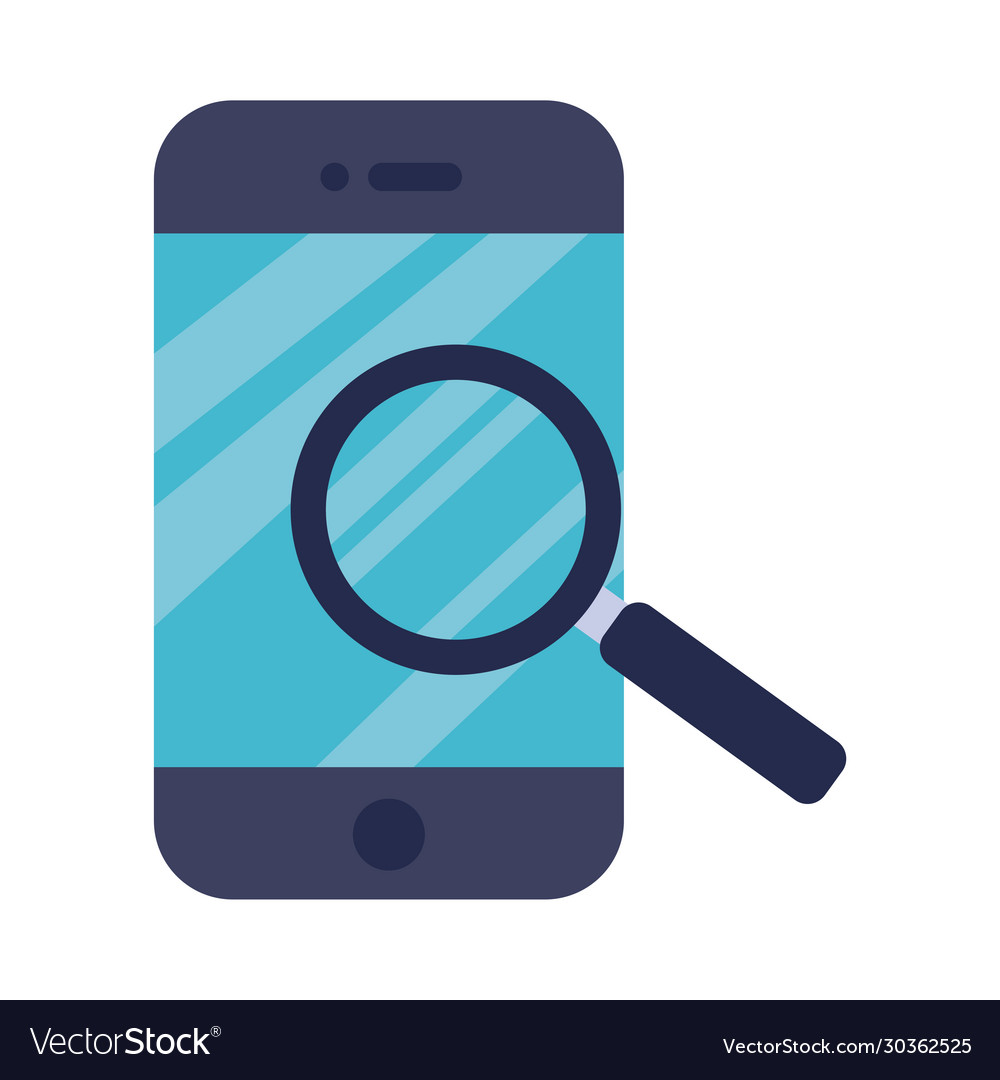 Smartphone with magnifying glass flat style icon