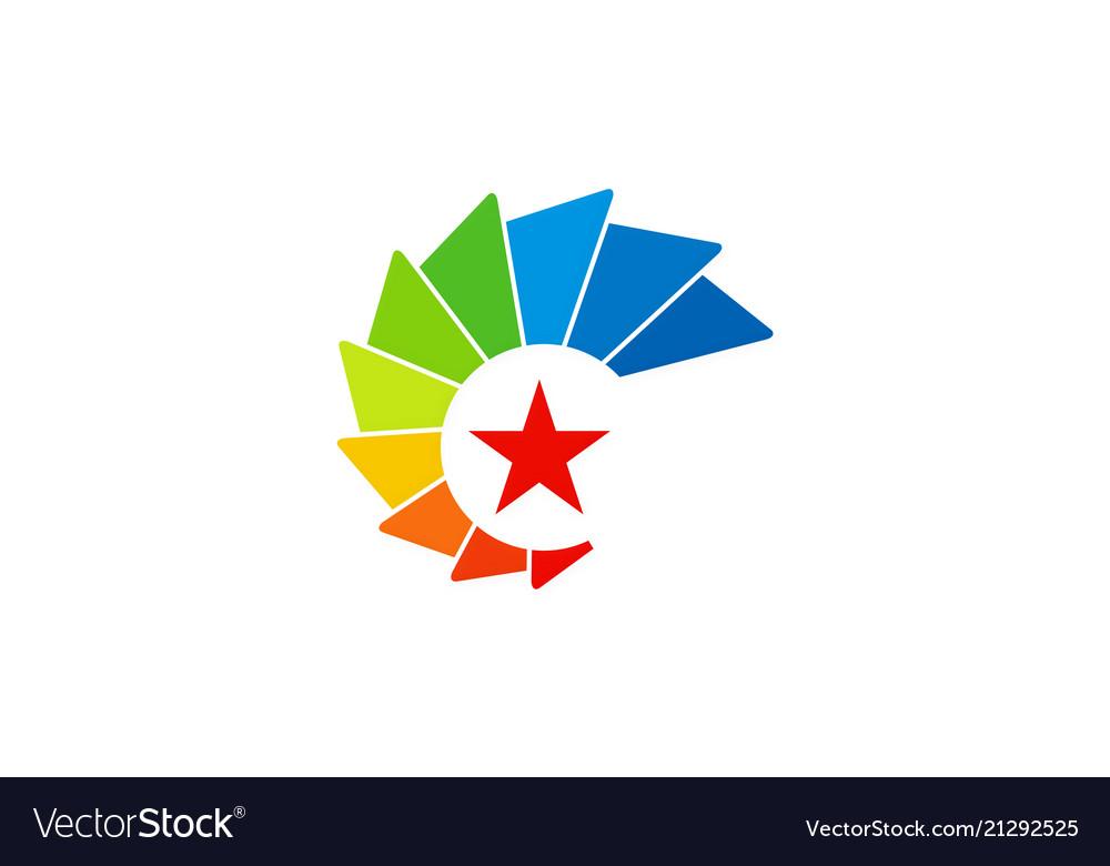 Star color rainbow technology logo