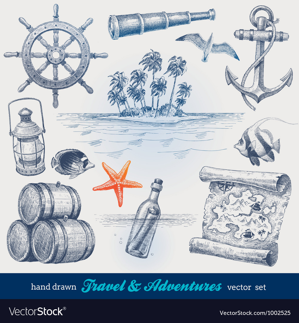 Travel and adventures hand drawn set