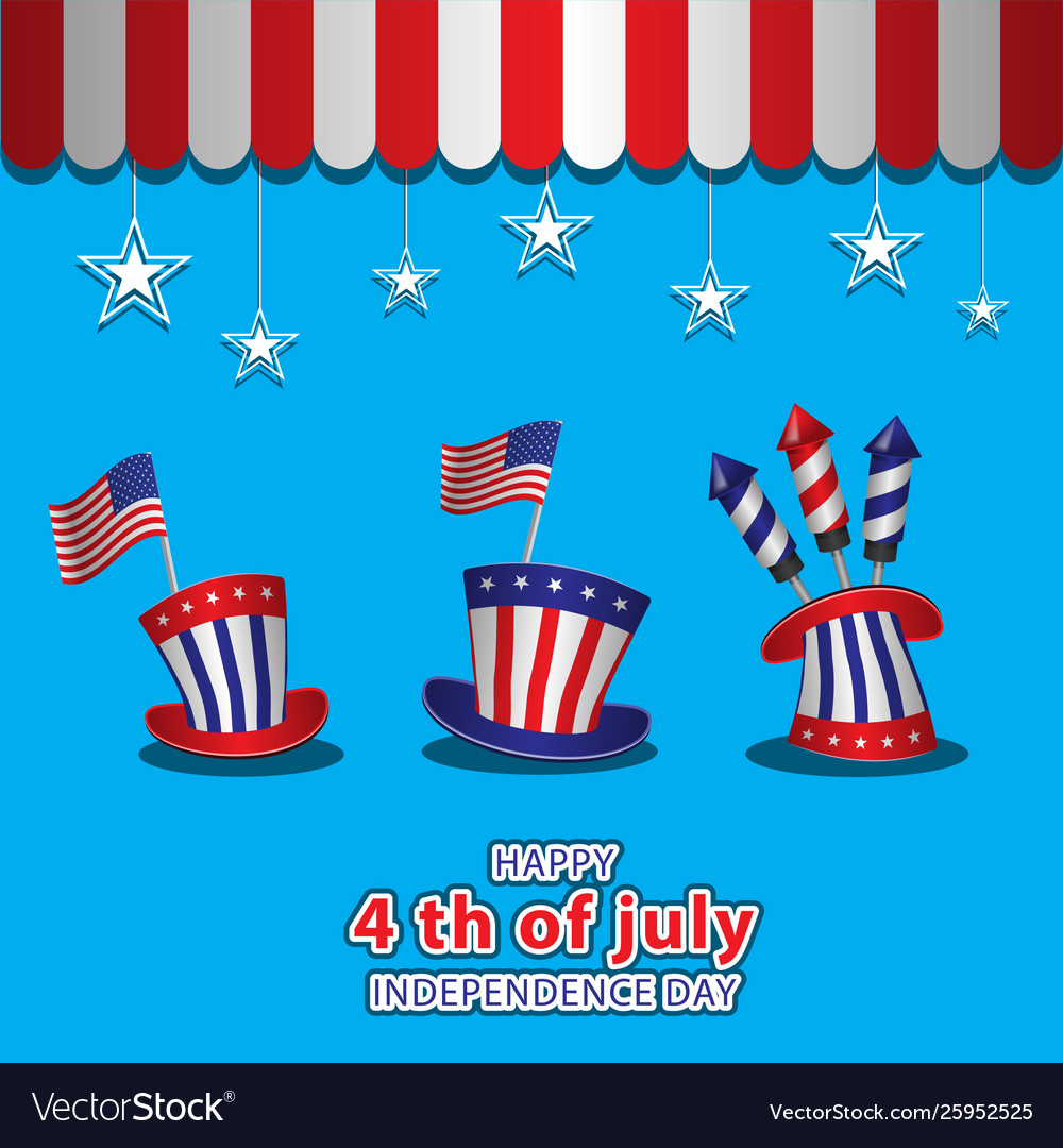 Us independence day on 4 july three hats