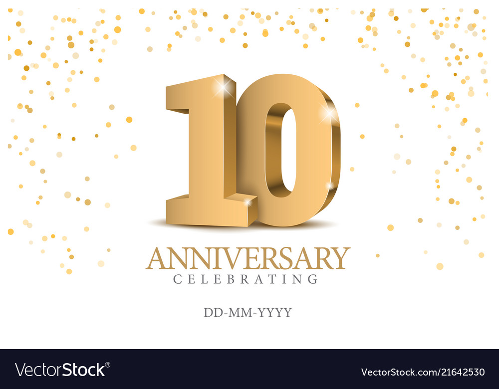 Anniversary 10 gold 3d numbers
