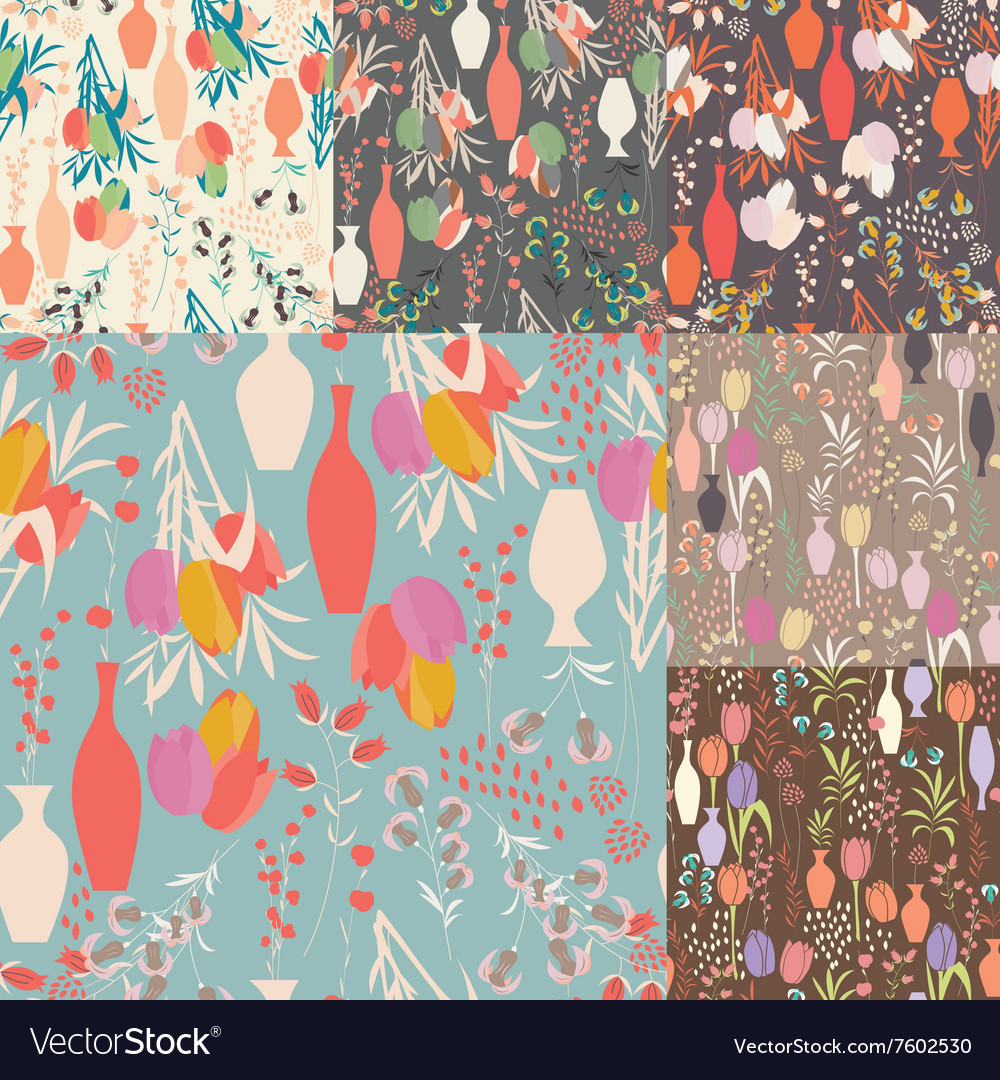 Collection seven seamless patterns with flowers