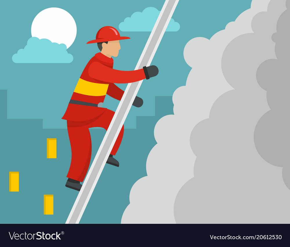 Firefighter on stairs concept flat style