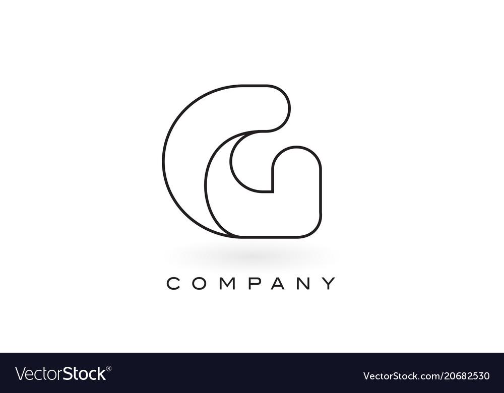 G monogram letter logo with thin black monogram