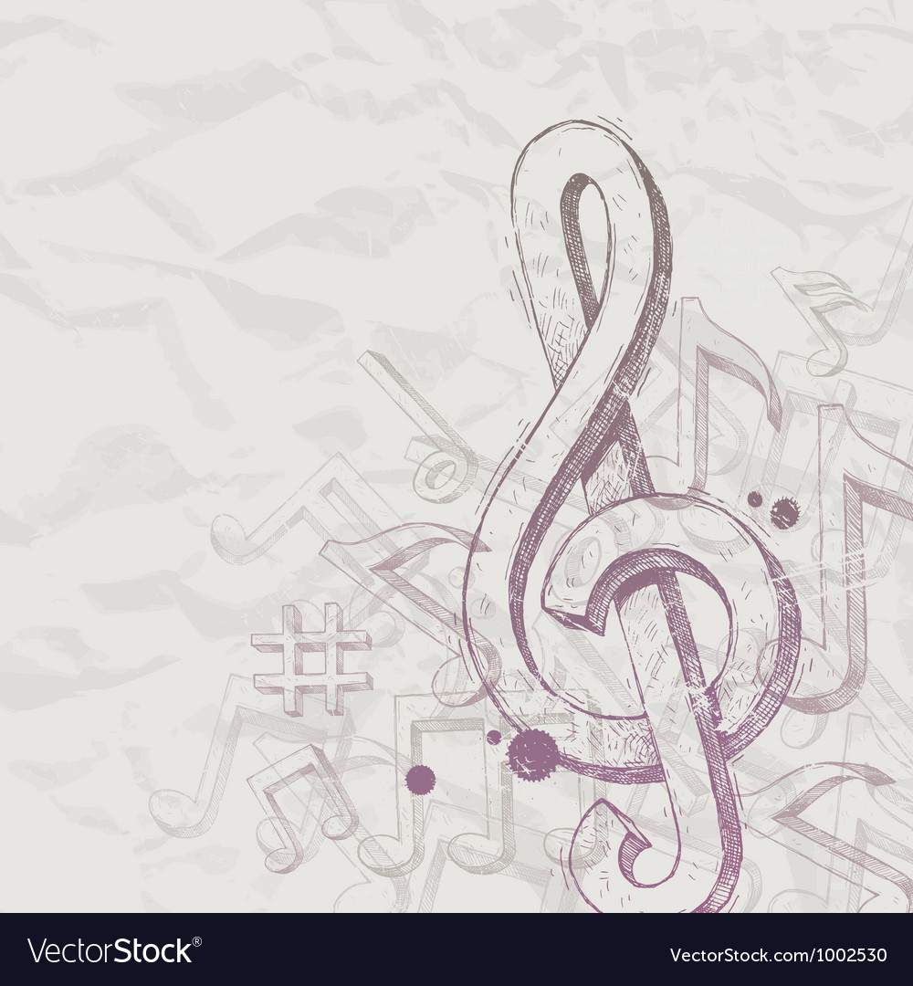 Hand drawn treble clef and notes vector image